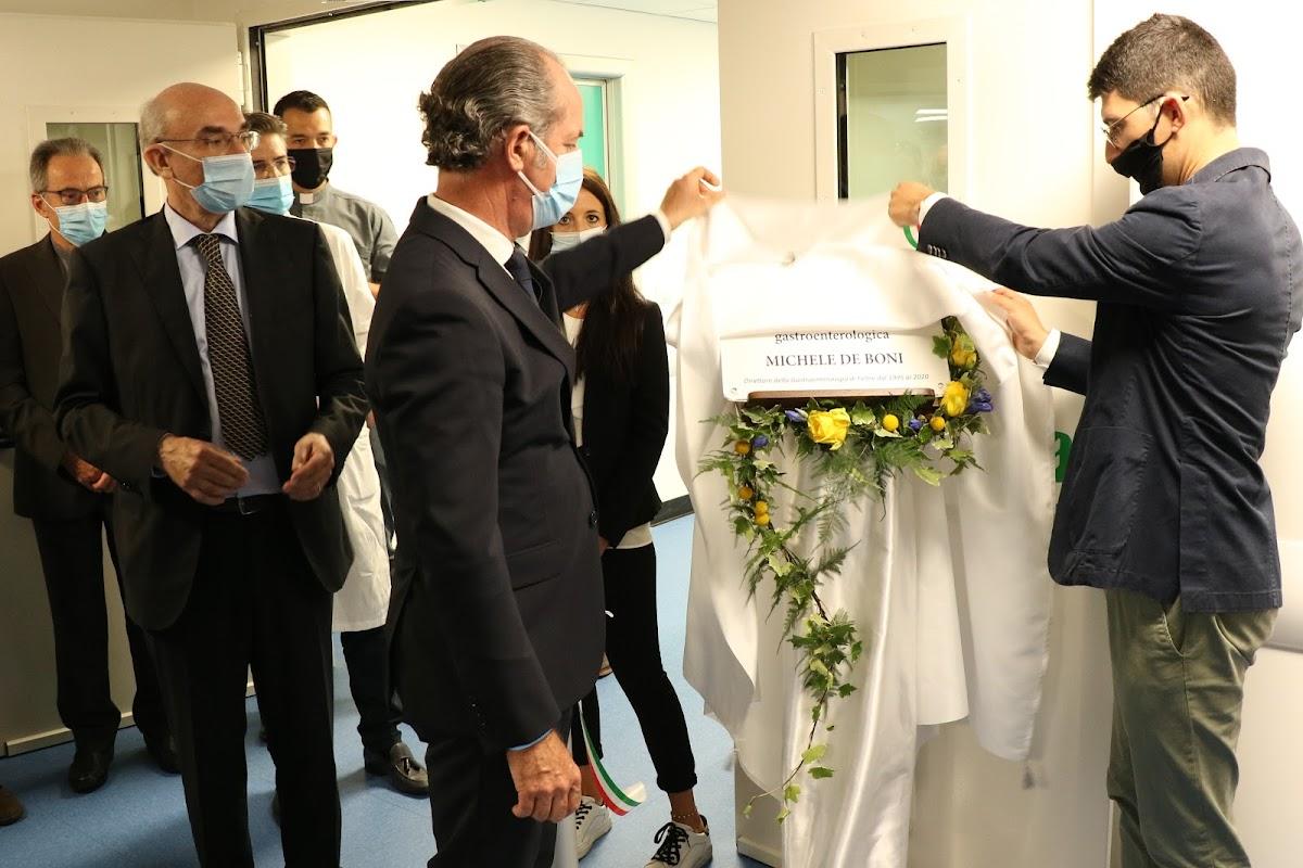 Inaugurazione rianimazione blocco chirurgico svelamento targa Michele Boni con Luca Zaia 25 giugno 2020