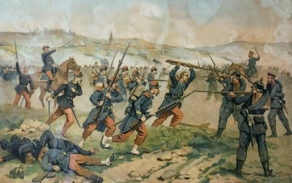 Kriegsdarstellung: Deutsche kämpfen gegen Frnzosen.