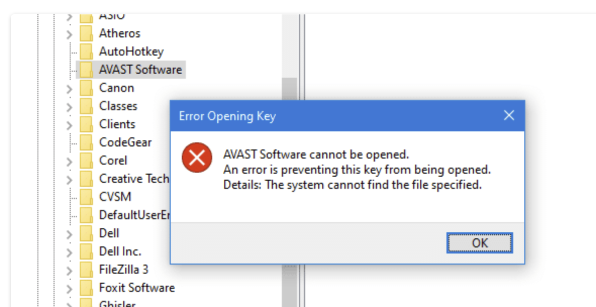 Error Opening Key. An error is preventing this key from being opened. Details: The system cannot find the file specified.