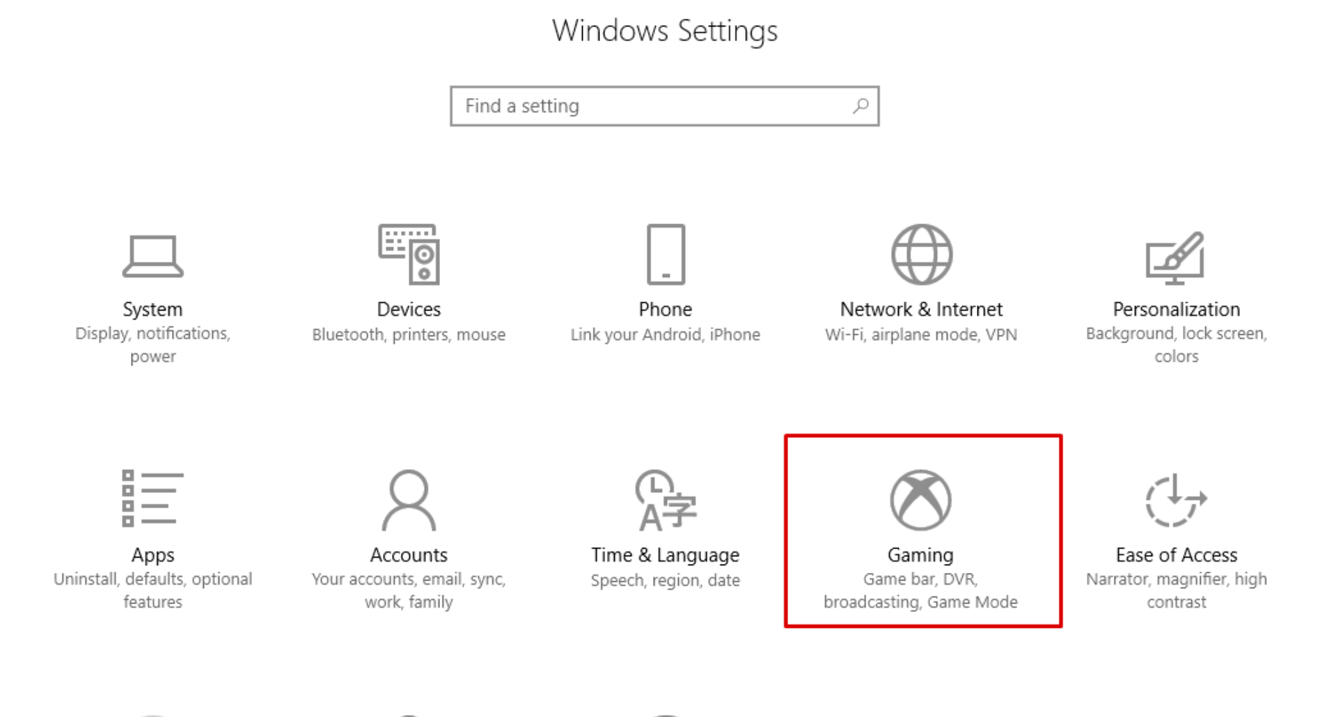 Windows Gaming Settings
