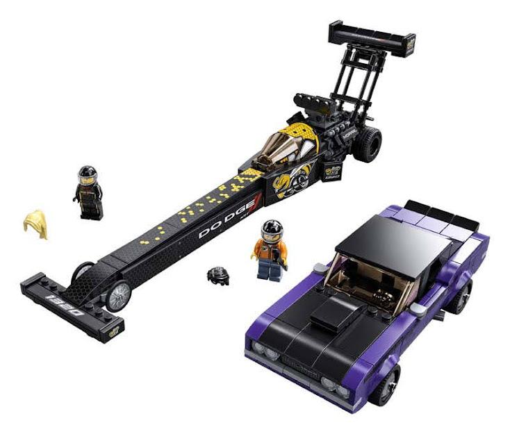 Contenido de LEGO® 76904 Drágster Mopar Dodge//SRT Top Fuel y Dodge Challenger T/A de 1970