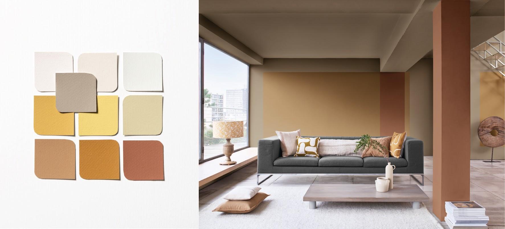 Một thiết kế phòng khách đơn giản mà tinh tế khi sử dụng bảng màu Kinh điển. Các sắc độ gợi sự cổ điển mà vẫn rất đương đại và Nâu Quả Cảm chính là điểm kết nối làm nên sự hài hòa đó.