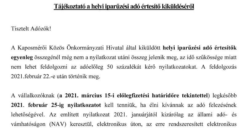 Tájékoztató helyi iparűzési adó értesítő kiküldéséről 2021