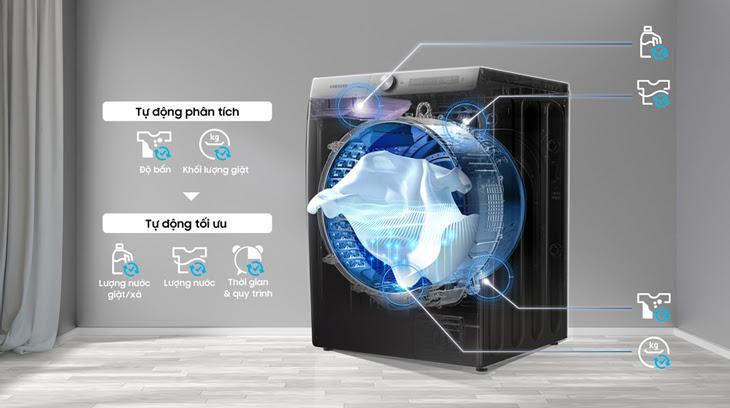 Công nghệ AI Wash cảm biến khối lượng, độ bẩn tối ưu lượng nước giặt, xả và thời gian giặt