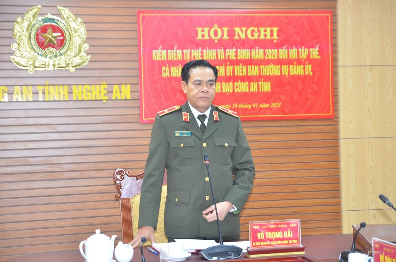 Thiếu tướng Võ Trọng Hải, Ủy viên BTV Tỉnh ủy, Bí thư Đảng ủy, Giám đốc Công an tỉnh kết luận tại hội nghị