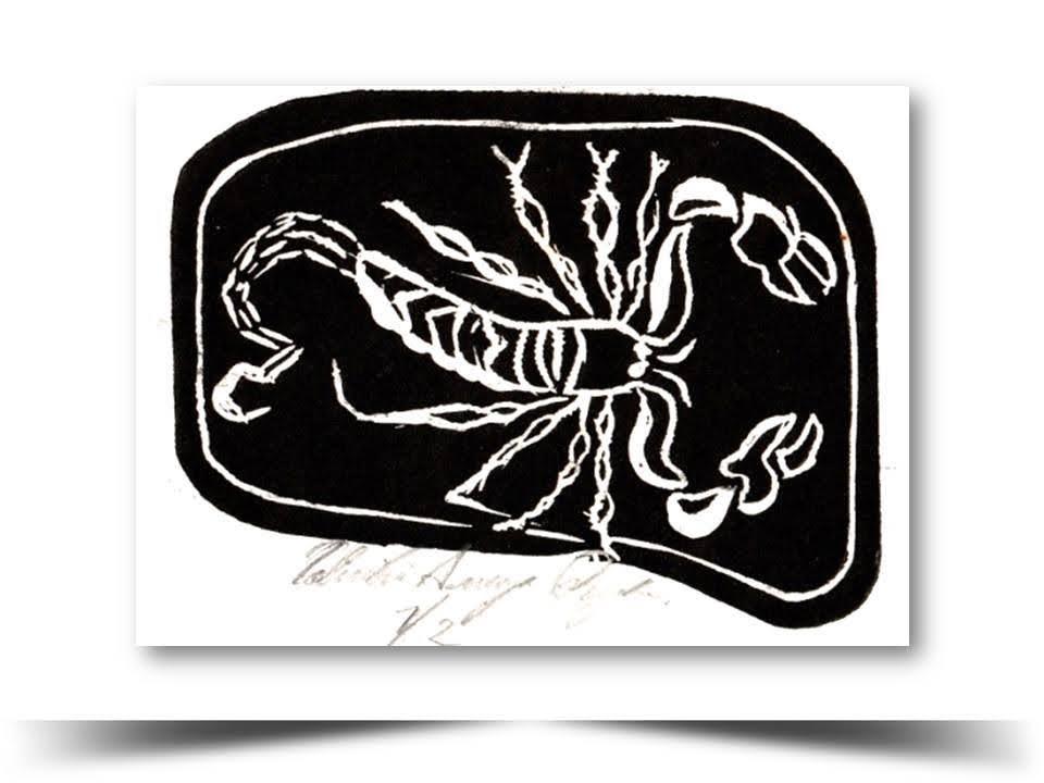 Grabado en Xilografia Escorpios 1998 Obra del Artista Ecuatoriano Lalinchi Arreaga Burgos E.E.A.B