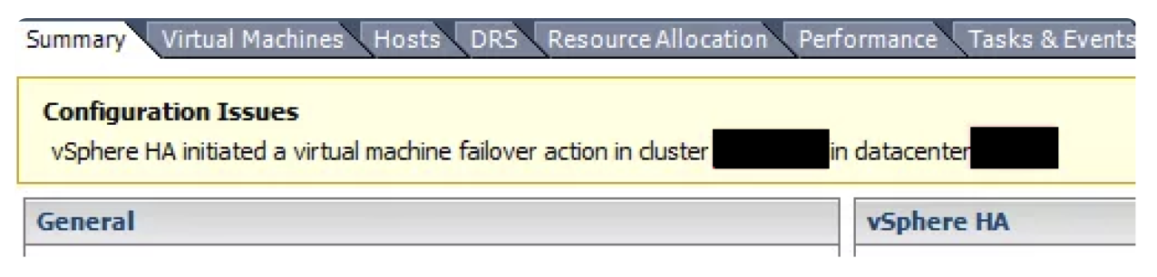 Configuration Issues: vSphere HA initiated a failover action on 1 virtual machines in cluster %Cluster_Name% in datacenter %Datacenter_Name%
