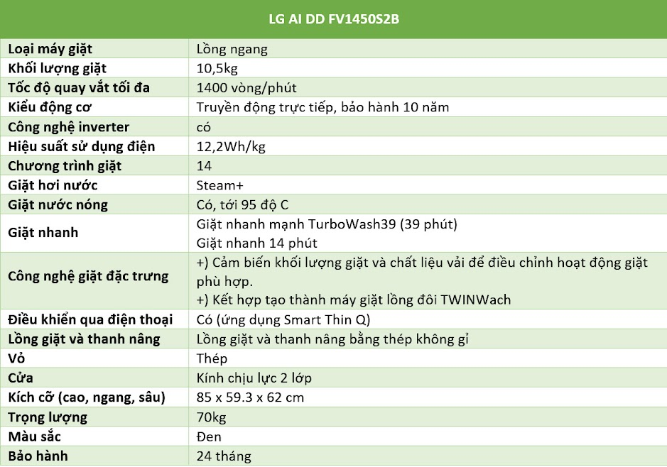 Thông số LG AI DD FV1450S2B