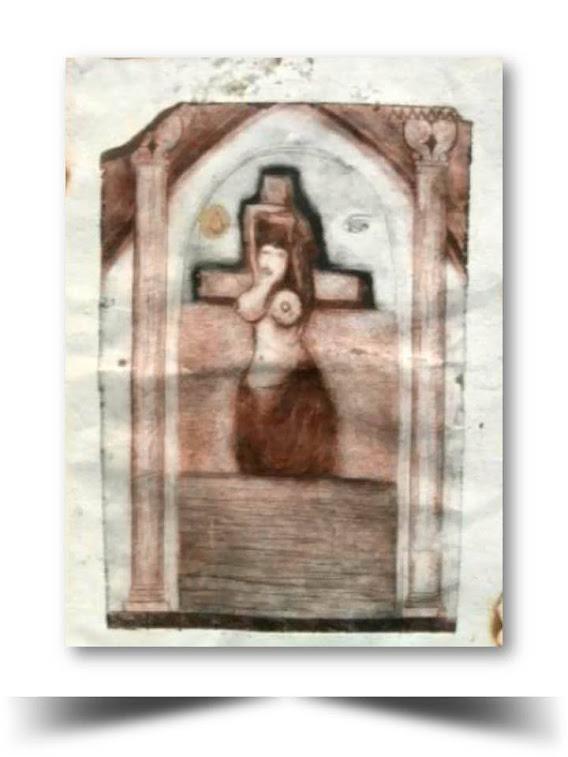 Grabado en Punta Seca 1998 Pecados Capitales Obra del Artista Ecuatoriano Lalinchi Arreaga Burgos E.E.A.B