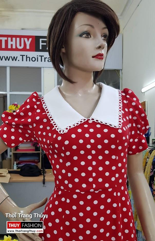 Váy xòe cổ chữ V vải lụa chấm bi V707 thời trang thủy hải phòng