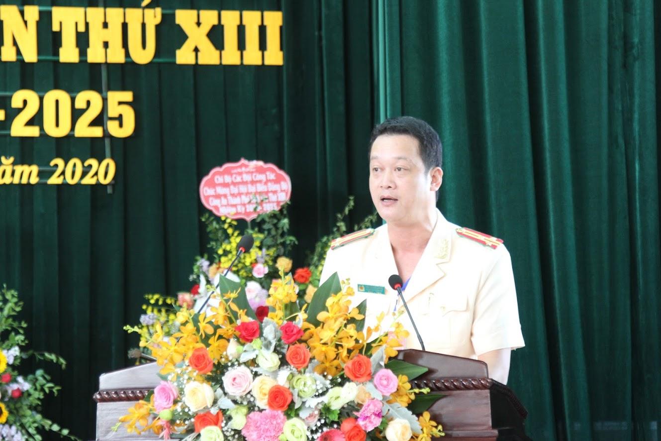 Thượng tá Nguyễn Đức Cường, Bí Thư Đảng uỷ, Trưởng Công an TP Vinh phát biểu khai mạc Đại hội.