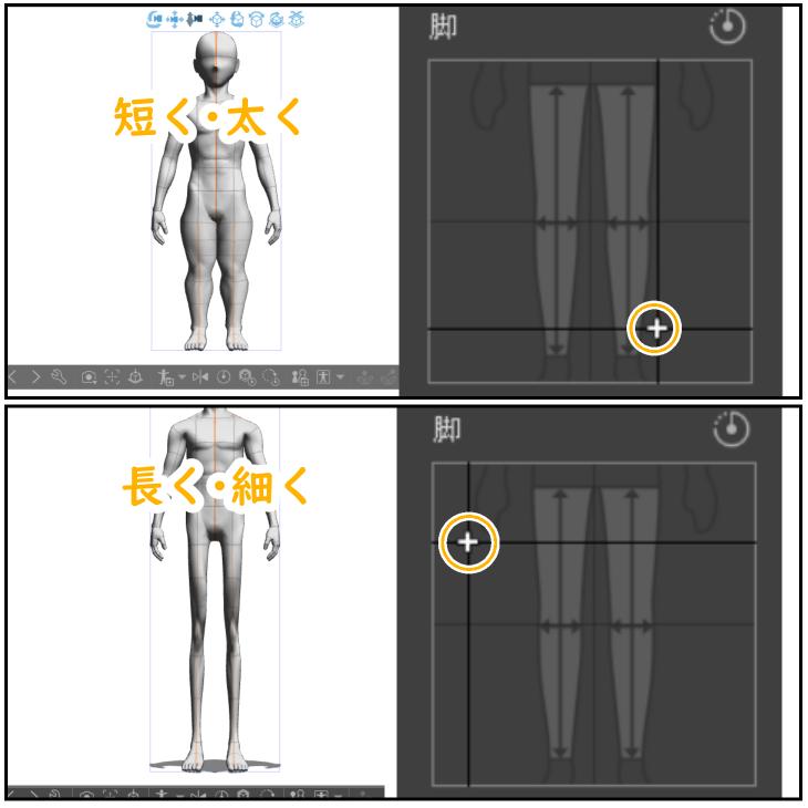 クリスタ3Dデッサン人形の脚設定例