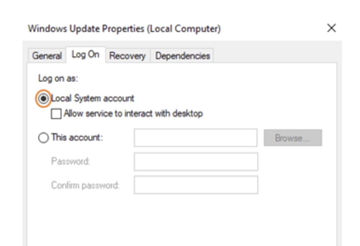 Go to Log On tab and make sure that the radio button for the Local System account is selected.