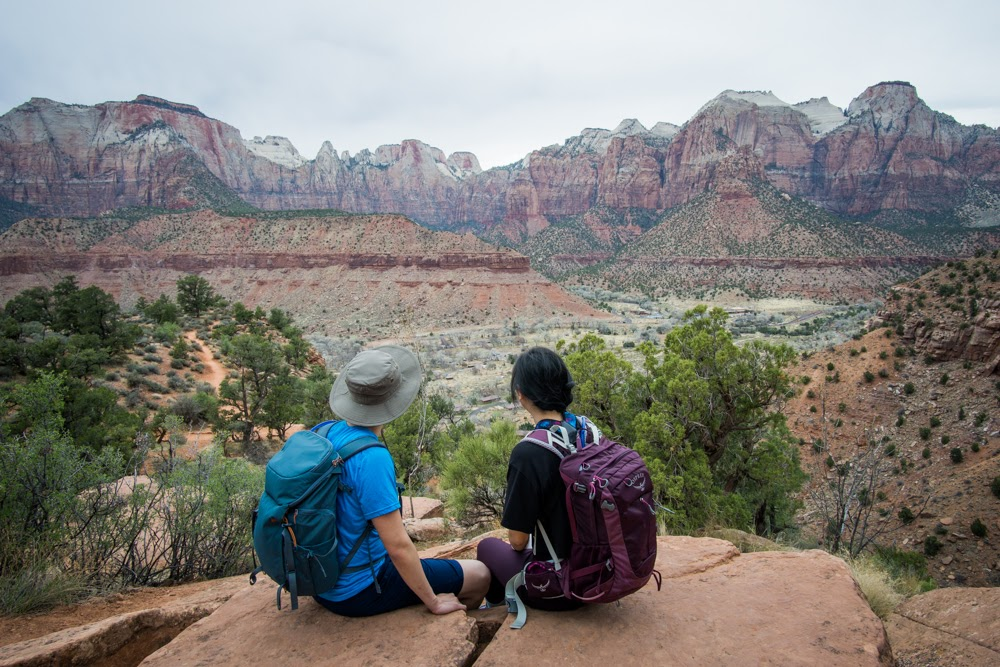 View at the top of Zion Watchman Hike