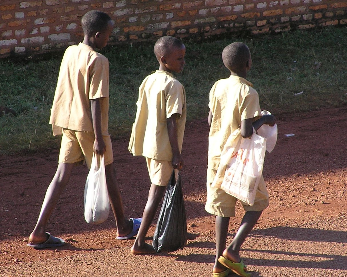 Youngsters returning from school