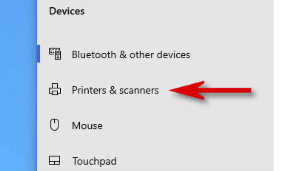 Click the Printers & scanners option in the sidebar menu.