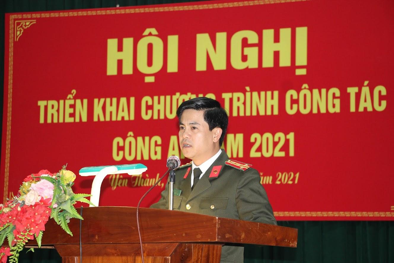 Đồng chí Đại tá Nguyễn Đức Hải – Phó Giám đốc Công an tỉnh phát biểu chỉ đạo hội nghị
