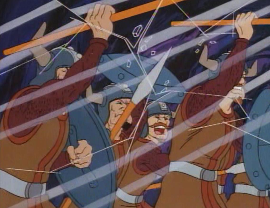 Veren's soldiers break through a glass wall