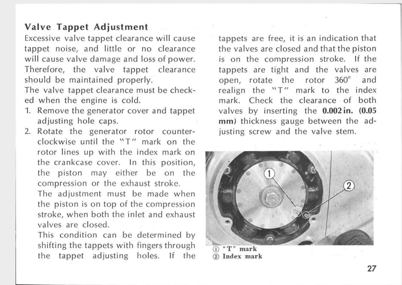 valve adjustment instruction