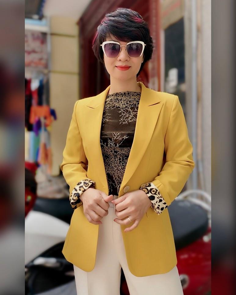 Áo vest nữ công sở màu vàng mix quần ống suông V741 thời trang thủy đà nẵng