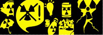 Atom-Symbole: Strahlenwarnung.
