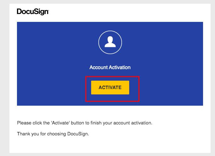 メールからDocuSign組織をアクティベートする