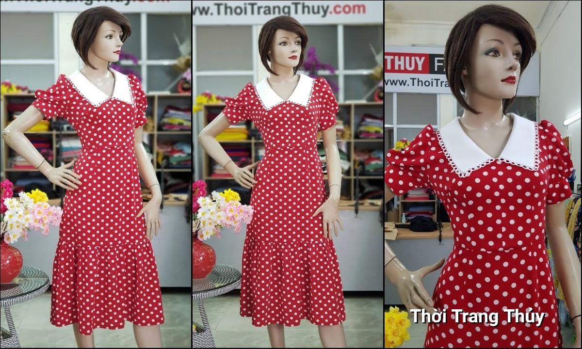 Váy xòe midi dáng dài qua gối vải lụa chấm bi V707 thời trang thủy hải phòng
