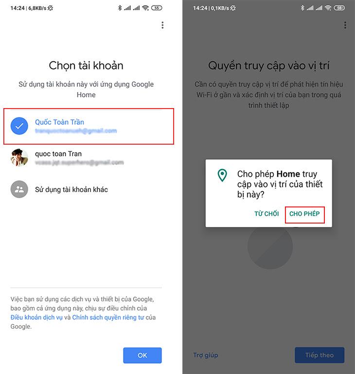 khởi động và đăng nhập ứng dụng Google home