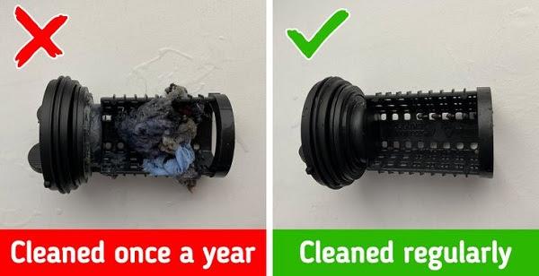 Nên làm sạch bộ lọc của máy giặt.