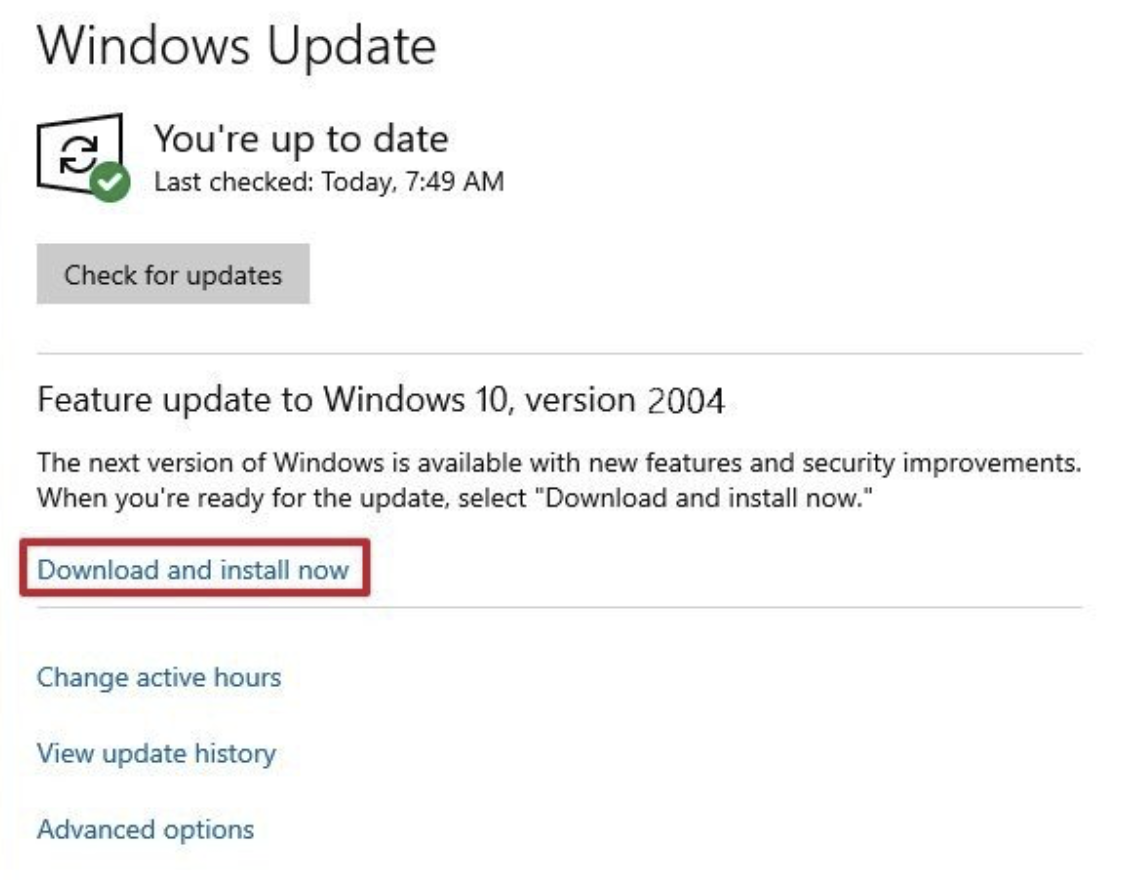 Windows updates Download and install now option