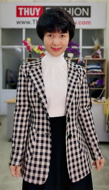 Áo vest nữ kẻ caro mix đồ quần ống vấy màu đen trắng V738 thời trang thủy thái bình