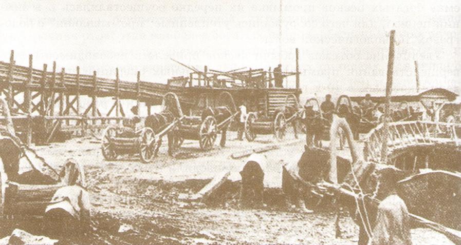 Доставка золотоносных песков конными тарантайками