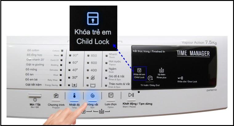 không bấm được nút Start khi đang khóa trẻ em