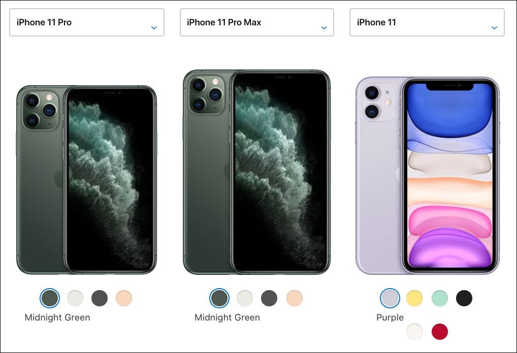 Since iPhones are partially purchased for aesthetic reasons, color options and an image of the product are highlighted first.