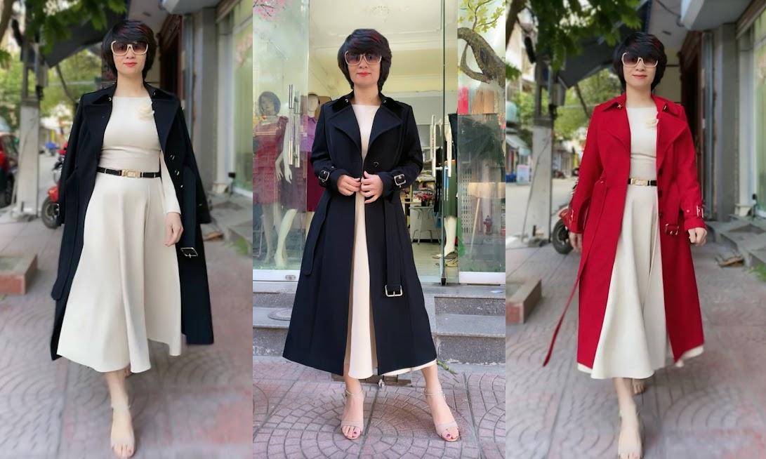 Áo khoác măng tô nữ dáng dài mùa thu đông V747 thời trang thủy hải phòng
