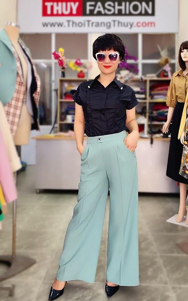 Áo vest nữ mix đồ quần ống suông màu xanh V726 thời trang thủy kiến an