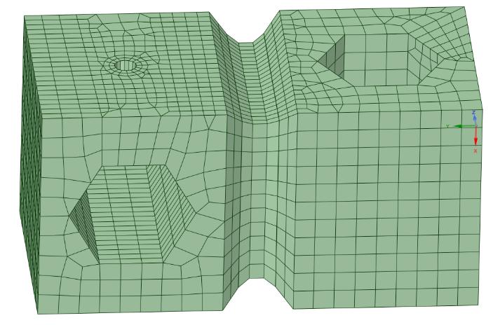 объединение граней в центральной части тела и изменение типа центрального блока на структурированный – «Mapped» («Сопоставленный» в русском переводе интерфейса 2020R1)