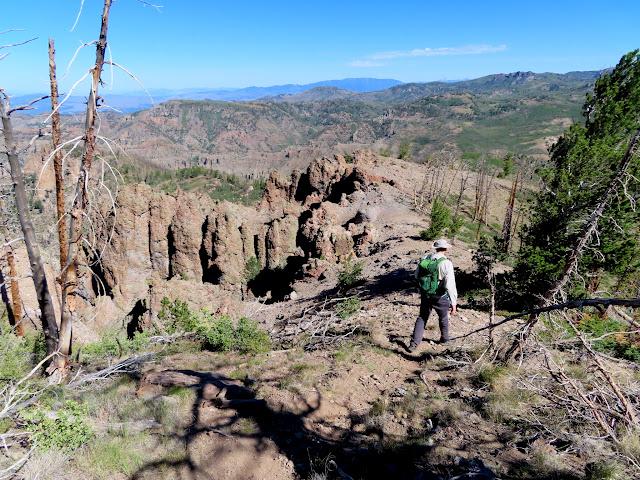 Hiking back down the ridge