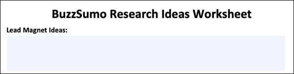 BuzzSumo Research Ideas Worksheet