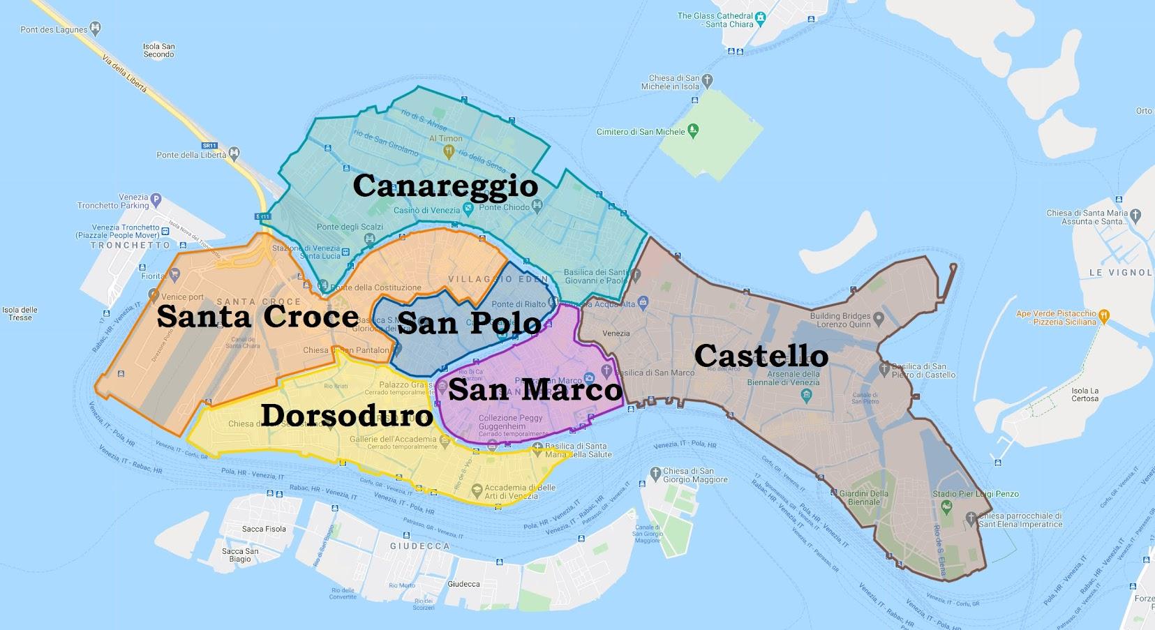 zonas donde alojarse en Venecia