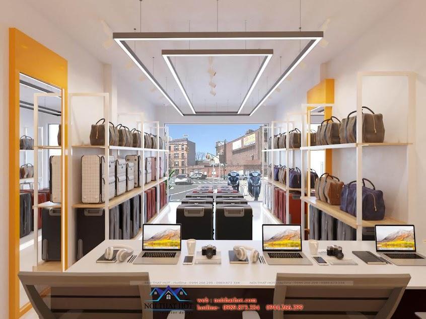 thiết kế cửa hàng vali cao cấp