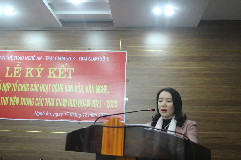 Đồng chí Trần Thị Mỹ Hạnh, Giám đốc Sở VH &TT Nghệ An phát biểu