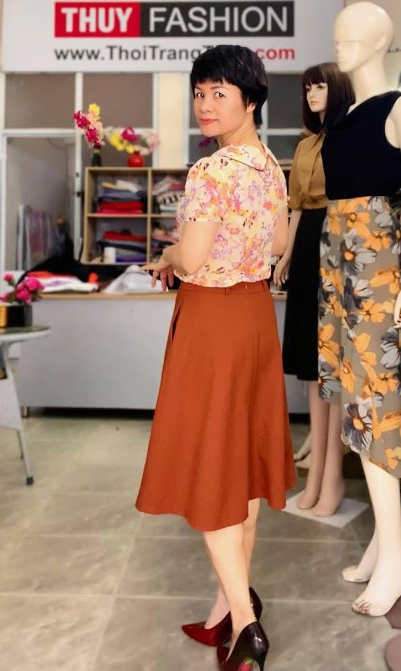 Mix đồ áo sơ mi với chân váy xòe midi V734 thời trang thủy quảng ninh