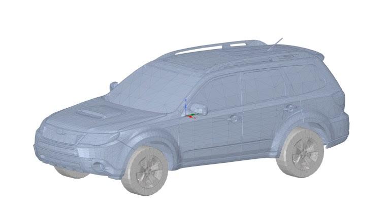 Полигональная геометрическая модель автомобиля Subaru Forester (с заводскими рейлингами)