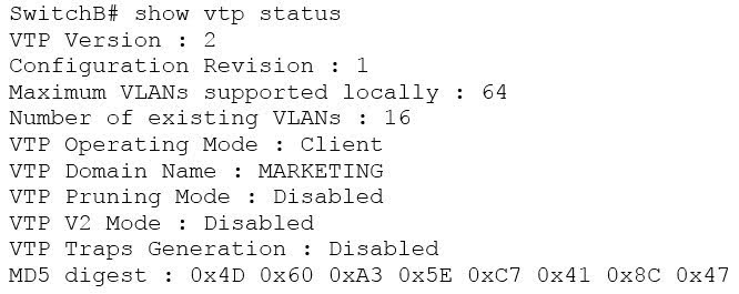 The output of the show vtp status command would be as follows