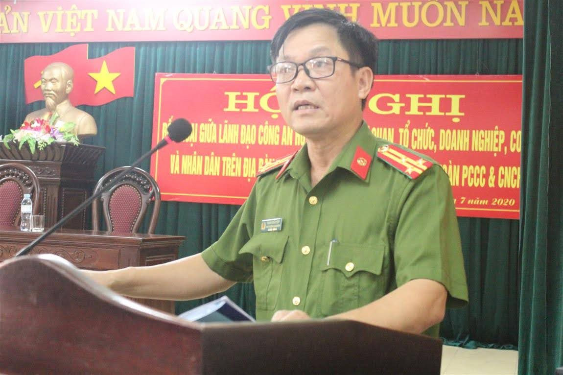 Đồng chí Thượng tá Trịnh Xuân Hợp, Phó Trưởng Công an huyện – Chủ trì khai mạc Hội nghị