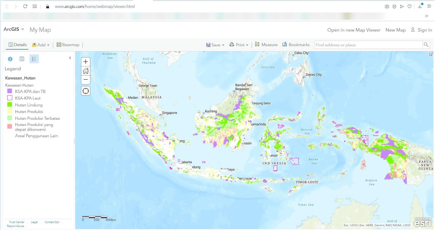 Peta status kawasan hutan Indonesia dari KLHK di ArcGIS Online
