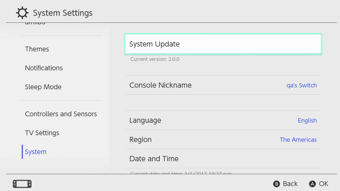 Download and install the latest System Update (Ver. 11.0.0 distributed on November 30, 2020) for Nintendo Switch.
