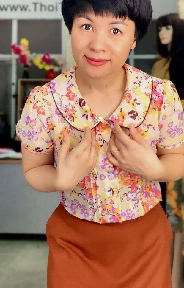 Mix đồ áo sơ mi với chân váy xòe midi V734 thời trang thủy đà nẵng