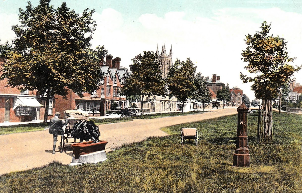 Water trough on the Greens in Tenterden High Street about 1913